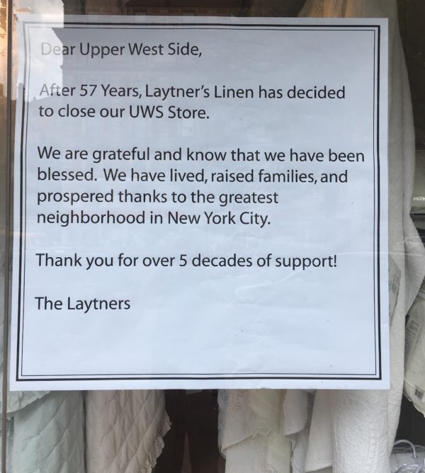 Laytners Linens is Closing