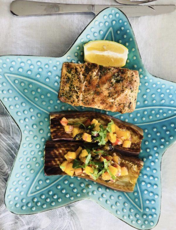 Seared Salmon with Roasted Eggplant with Bruschetta