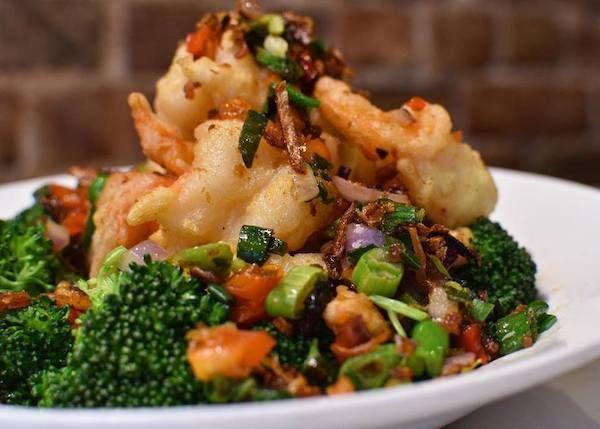 Crispy prawns with XO sauce