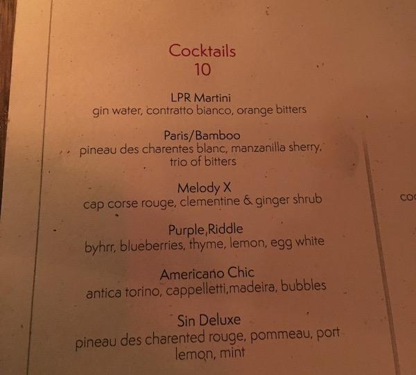 cocktail menu Le Petit Rooster NYC