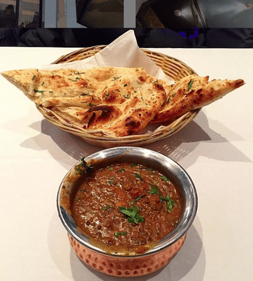 black lentils and garlic naan
