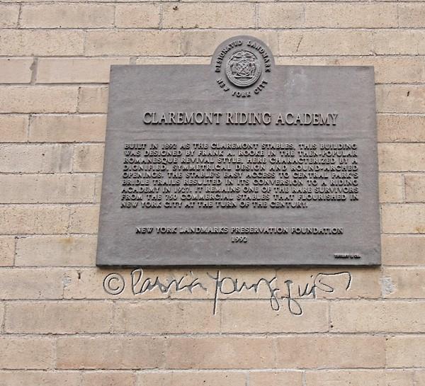 claremont riding academy plaque