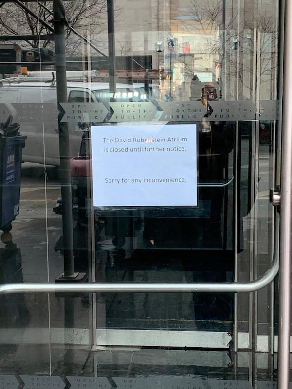 David Rubenstein Atrium closed