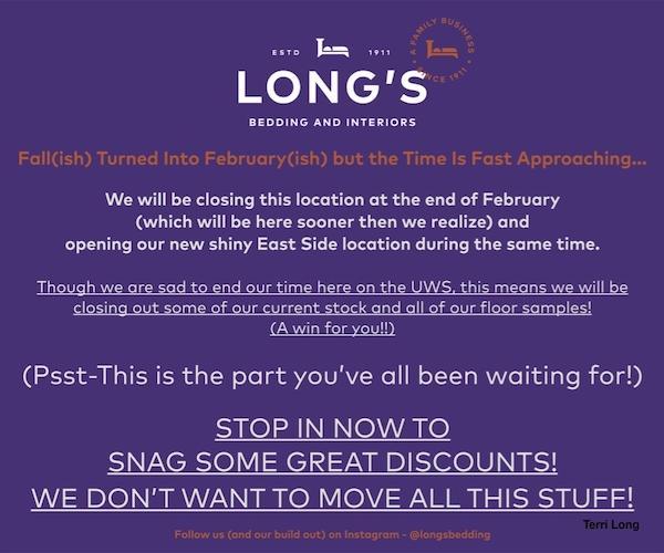 Long's Bedding UWS Closing