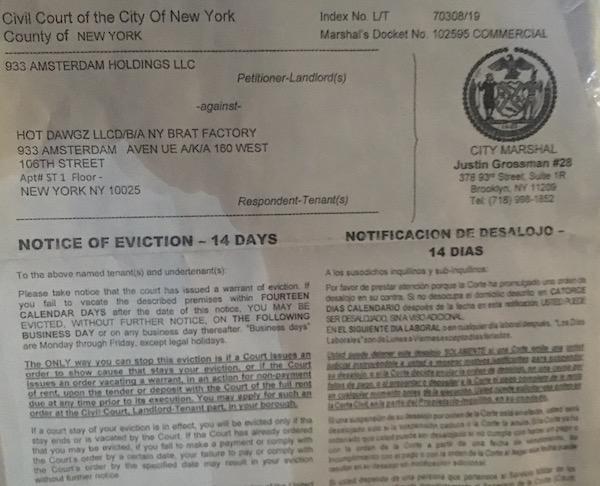 NY Brat Factory Eviction