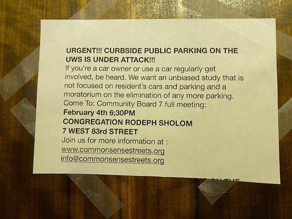 Curbside Parking Upper West Side