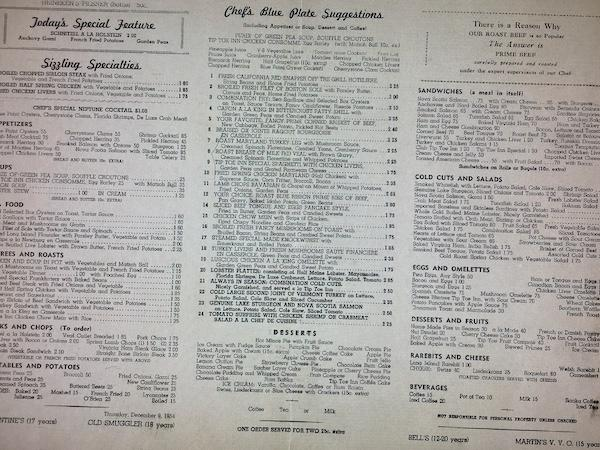 Tip Toe Inn Menu