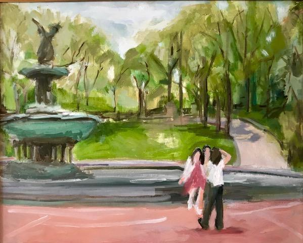 Water color painting central park nyc