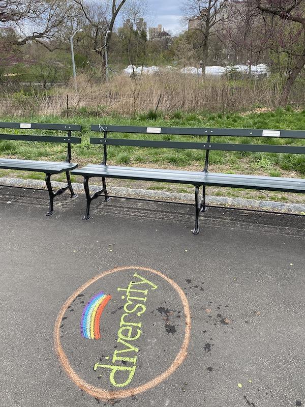 Central Park chalk art easter