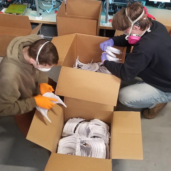 Volunteers Packing Face Masks