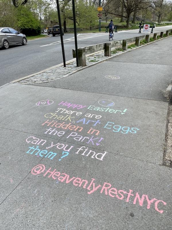 chalk art easter egg hunt
