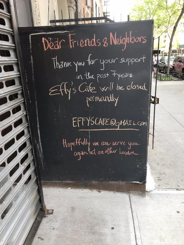 Effy's Cafe Closes