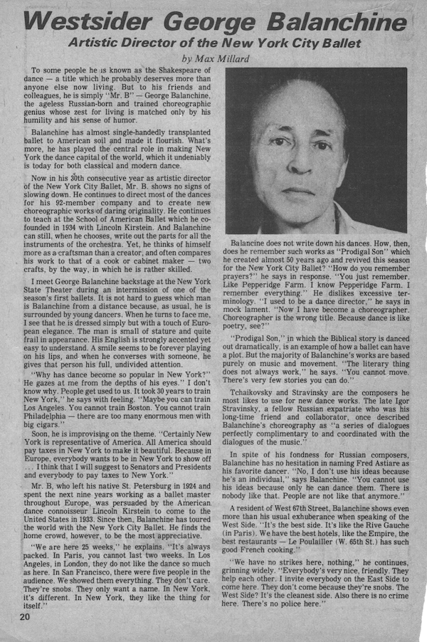 George Balanchine Interview