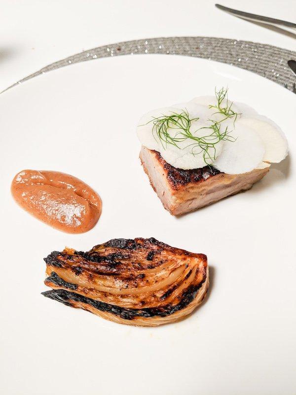 Pork belly fennel roast apple puree