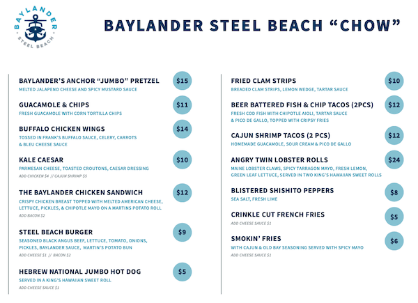 Baylander Steel Beach Menu