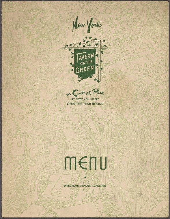 Tavern on the Green Menu 1950