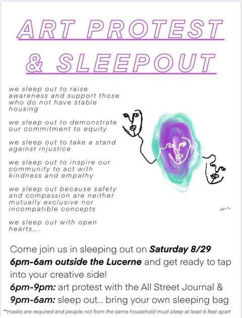 art protest and sleepout