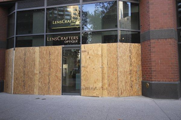 NYC stores boarded up