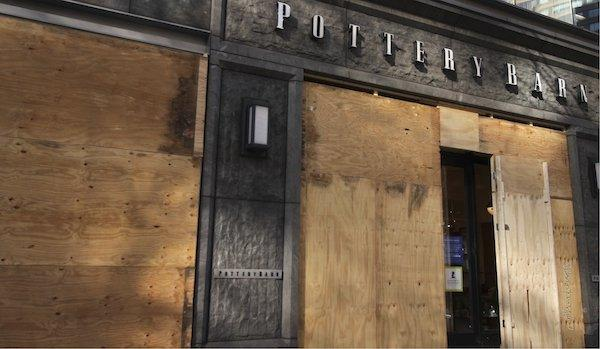 pottery barn boarded up