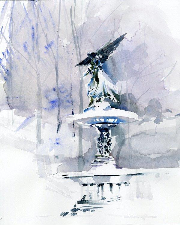BETHESDA FOUNTAIN watercolors