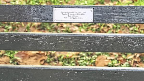 Central Park memorial bench