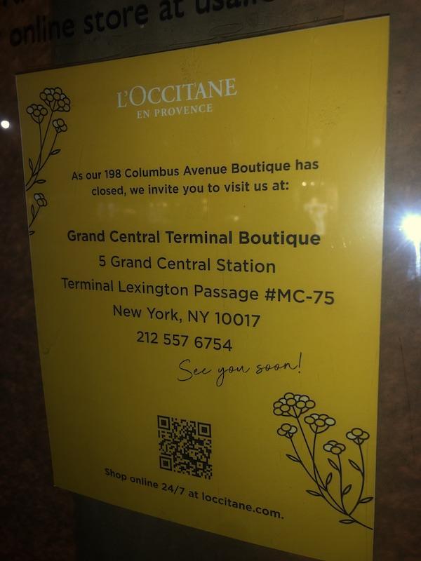 L'Occitane Columbus Avenue closed