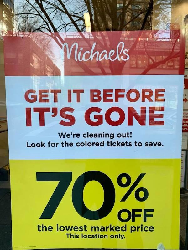 Michael's 70% off