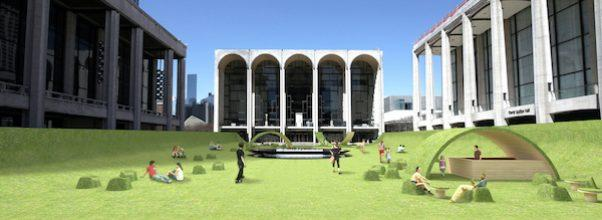 Lincoln Center NYC green lawn restart stages