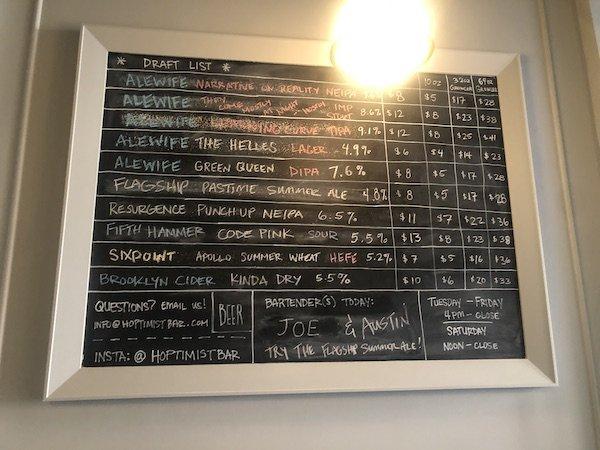 The Hoptimist beer list