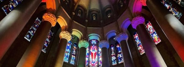 Cathedral of St. John the Divine Lights Up Columns for Pride Month