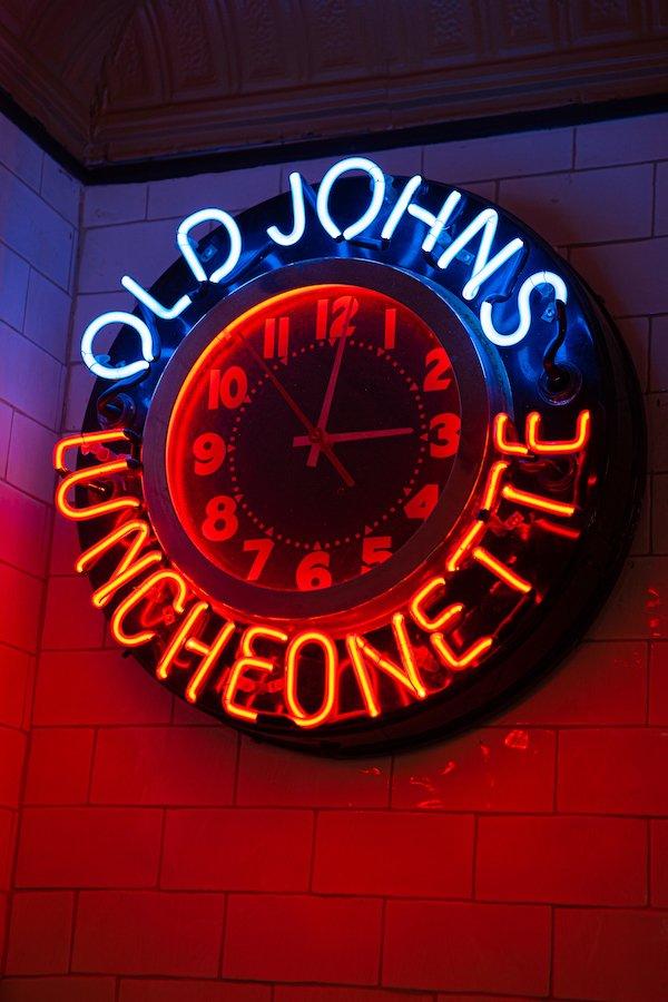 Old John's Neon Clock Sign