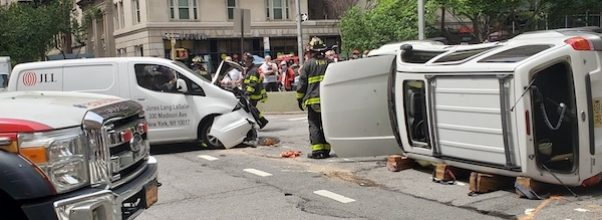 Car Flips on 90th and Broadway