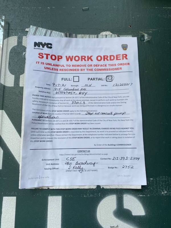 AMNH stop work order
