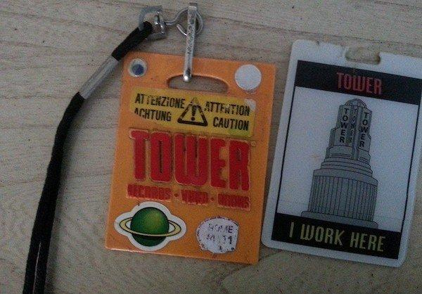 Tower Records employee badge