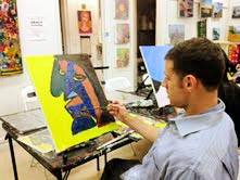 Mike Mishkin Painting at The Art Studio
